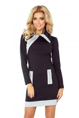 Dámské šaty 129-2 černo-šedá