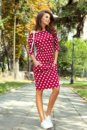 Dámské šaty 13-111 - Numoco bordo/ bílá
