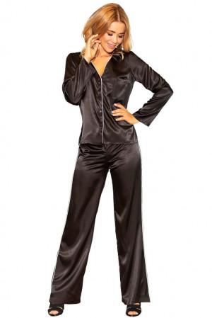 Saténové pyžamo Termi černé