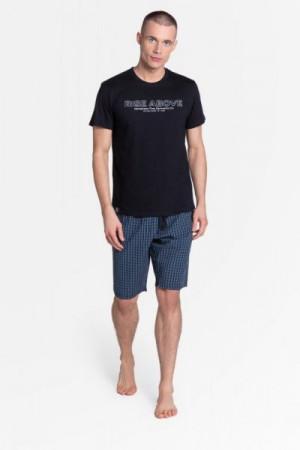 Henderson Dojo 38883-99X černo-tmavě modré Pánské pyžamo XXL Černá-tmavomodrá