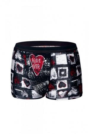 Cornette 010/67 Heart valentýnské Pánské boxerky XXL bílá-červená