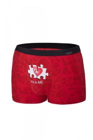 Cornette 010/68 You & Me valentýnské Pánské boxerky L červená