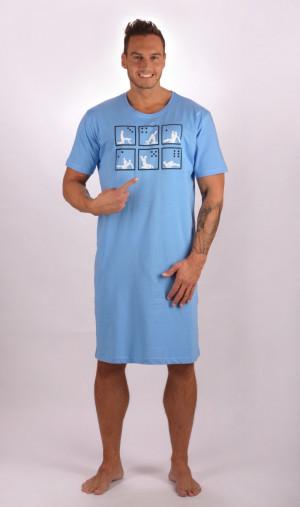 Pánská noční košile Kamasutra - Cotton Shop světle modrá