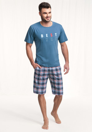 Pánské pyžamo Luna 718 kr/r 3XL tmavě modrá 3XL