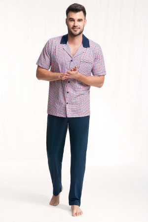 Pánské pyžamo Luna 770 kr/r M-2XL bordó-tmavě modrá