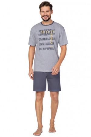 Pánské pyžamo Regina 579 kr/r 2XL-3XL tmavá žíhaná