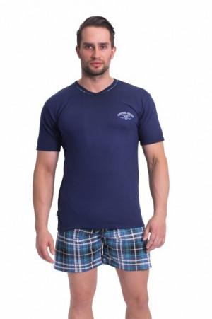 Pánské pyžamo krátké Pablo M tmavě modrá/vzor