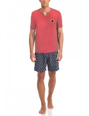 Pánské pyžamo 12660-373 modrorůžová - Vamp modro-růžová