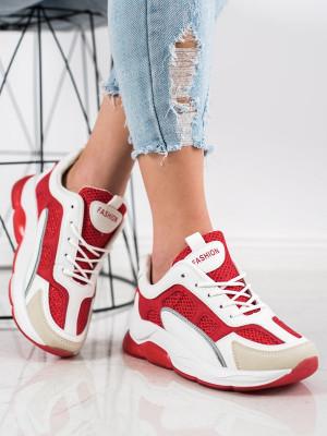 Jedinečné  tenisky dámské červené bez podpatku