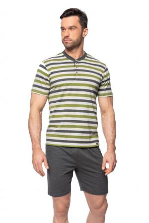 Krátké pánské pyžamo Marek šedozelené pruhy šedá