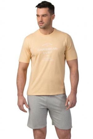 Pánské bavlněné pyžamo Matt žluté žlutá