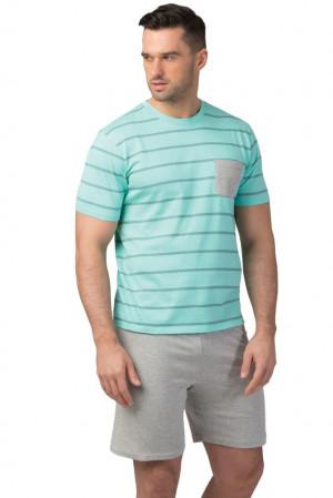 Pánské bavlněné pyžamo Oliver tyrkysové tyrkysová