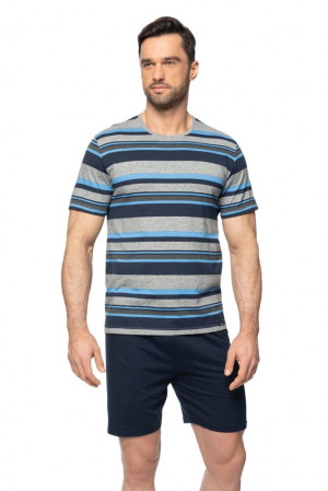 Krátké pánské pyžamo Petr šedé modrá