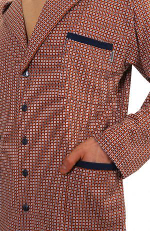 Pánské pyžamo s dlouhými rukávy 2385 GRANAT BEŻ