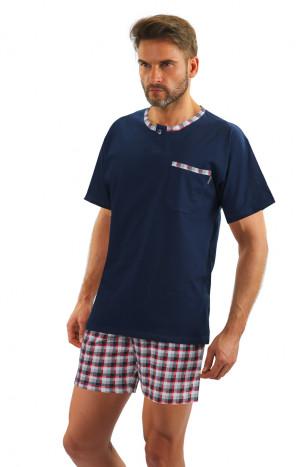 Pánské pyžamo s krátkými rukávy JASIEK tmavě modrá