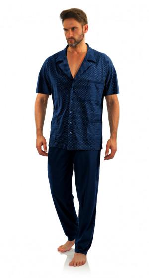 Pánské pyžamo s krátkými rukávy kotvy-tmavě modrá