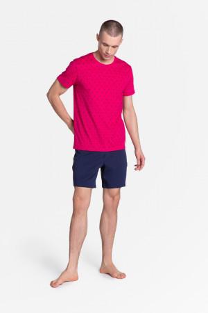Pánské pyžamo LEAF 38872 růžová/tmavě modrá
