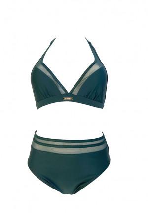 Dvoudílné plavky S1061 zelená - Self zelená