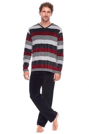 Pánské velurové pyžamo Harry pruhy černá