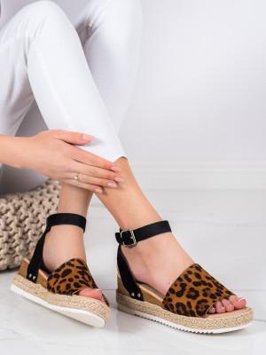 Krásné se zvířecím motivem  sandály dámské na klínku