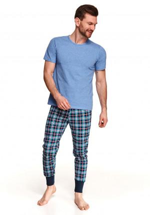 Pánské pyžamo Taro Grzegorz 2519 kr/r M-2XL L'21 modrá-károvaná