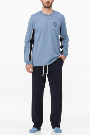 Pánské pyžamo 11724 - Vamp modrá s tm. modrou 2XL