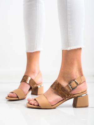 Zajímavé dámské  sandály hnědé na širokém podpatku