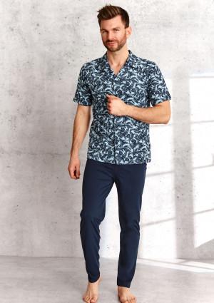 Pánské pyžamo Taro Gracjan 954 Kr/r 2XL-3XL L'21 modrá/tmavěmodrá 3XL