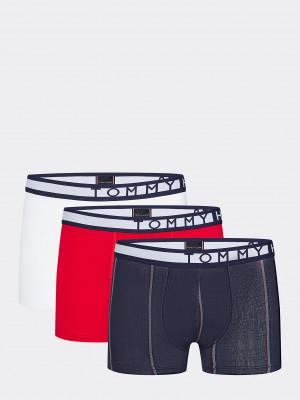 Boxerky 3pcs UM0UM01563-0SN červenobílomodrá - Tommy Hilfiger modro-bílo-červená