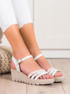 Trendy dámské šedo-stříbrné  sandály na klínku