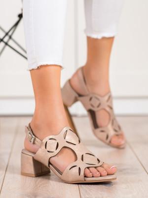 Trendy  sandály dámské hnědé na širokém podpatku