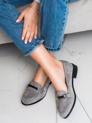 Moderní dámské  mokasíny šedo-stříbrné na plochém podpatku
