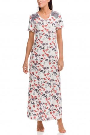 Dámská noční košile 12165 - Vamp ecru s květy
