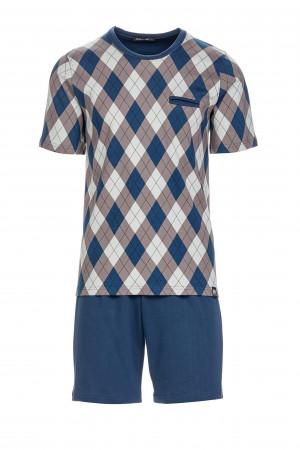 Pánské  pyžamo 13752 - Vamp   modrá kostka
