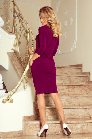 JANET - Dámské šaty ve švestkové barvě se šněrovaným výstřihem 230-1