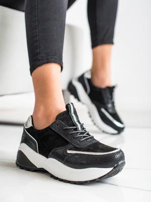 Módní dámské černé  tenisky bez podpatku