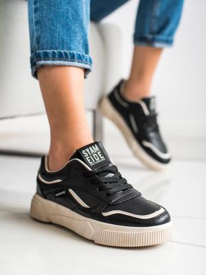 Designové černé dámské  tenisky bez podpatku