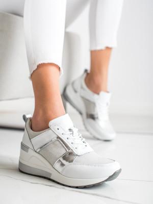 Trendy bílé dámské  tenisky na klínku