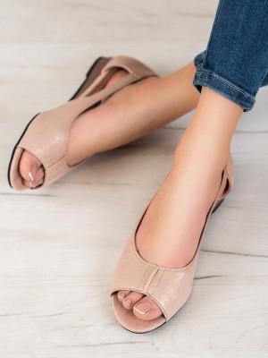 Módní zlaté  baleríny dámské bez podpatku