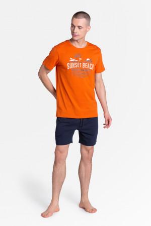 Pánské pyžamo LED 38867 oranžová-tmavě modrá