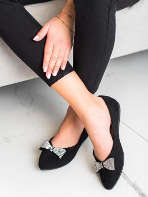 Moderní dámské  baleríny černé bez podpatku