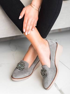 Exkluzívní šedo-stříbrné dámské  mokasíny na klínku