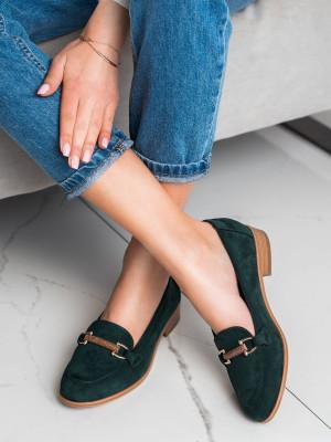 Luxusní zelené dámské  mokasíny na plochém podpatku