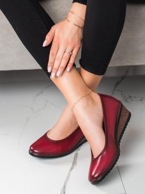 Luxusní dámské červené  baleríny na klínku