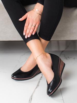 Módní  baleríny dámské černé na klínku
