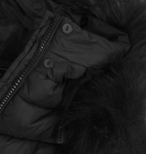 Dámská prošívaná zimní bunda s kapucí 7754 - Libland černá