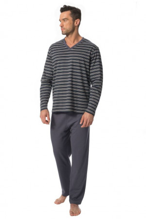 Pánské pyžamo Kevin tmavě modré s pruhy modrá