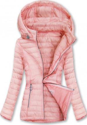 Prošívaná bunda v lososové barvě s kapucí (W629) růžová S (36)