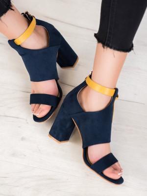 Klasické  sandály dámské modré na širokém podpatku