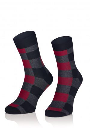 Pánské vzorované ponožky Superfine 1955 - Intenso  černá-vínová 44-46